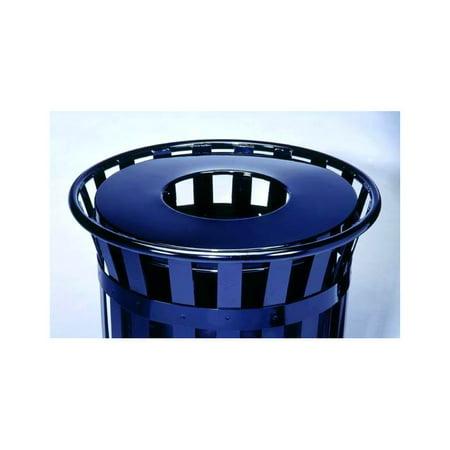 Steel Flat Top Trash Receptacle Lid in Blue (24 gal./Black)