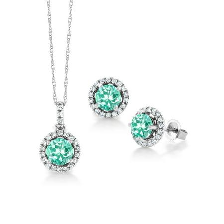 1.88 Ct Round Blue Apatite White Diamond 14K White Gold Pendant Earrings Set