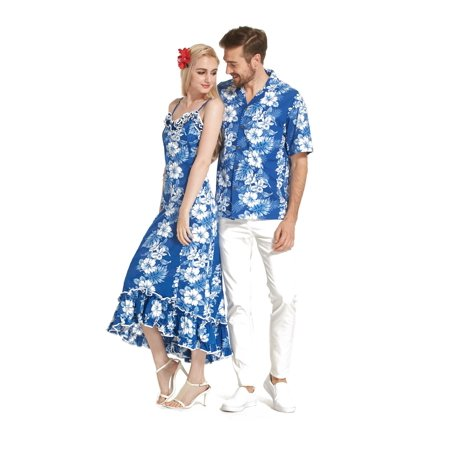 Made in Hawaii Premium Couple Matching Shirt Muumuu Dress Line Floral in White Floral in Blue 2XL-2XL