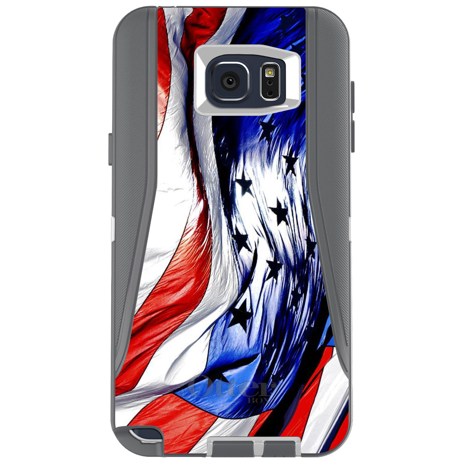 DistinctInk™ Custom Grey OtterBox Defender Series Case for Samsung Galaxy Note 5 - Red White Blue United States Flag Waving