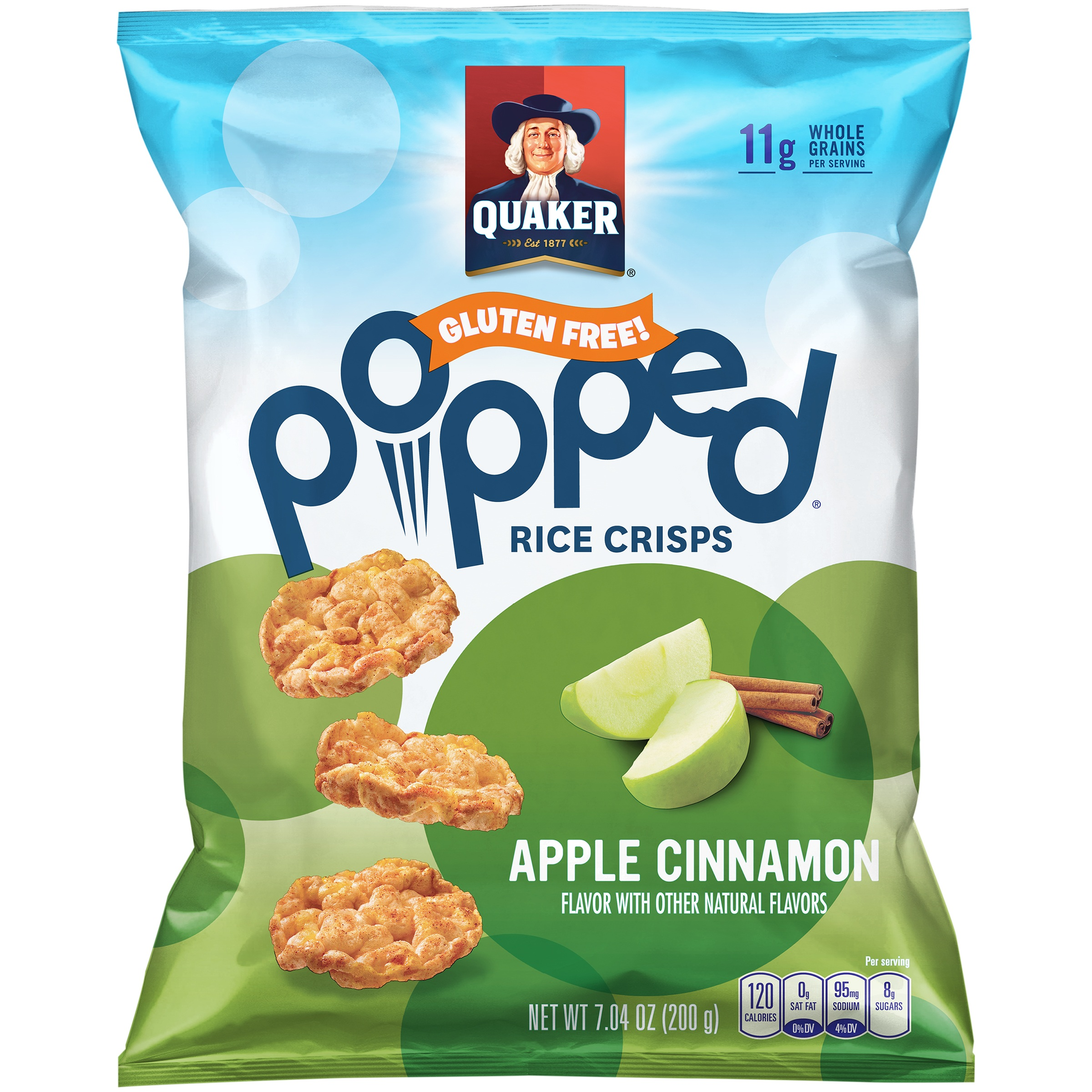 Quaker Popped Apple Cinnamon Rice Crisps 7.04 oz. Bag by The Quaker Oats Company.