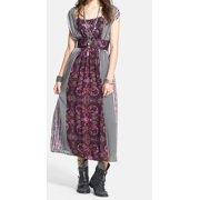 Free People NEW Purple Mix Print Midi Dress Women's Size 4 Sheath