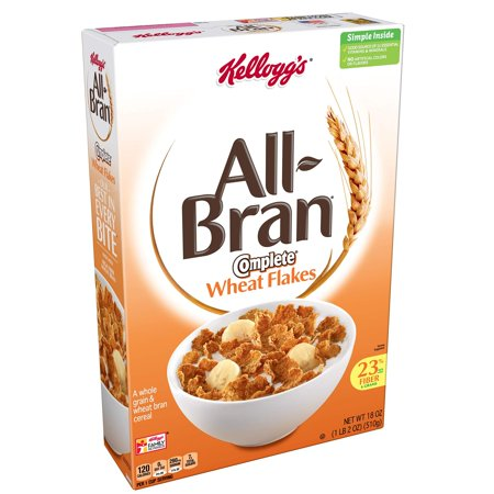 Kellogg's All-Bran Complete Wheat Flakes, Breakfast Cereal, Excellent Source of Fiber, 18 oz Box(Pack of 2)