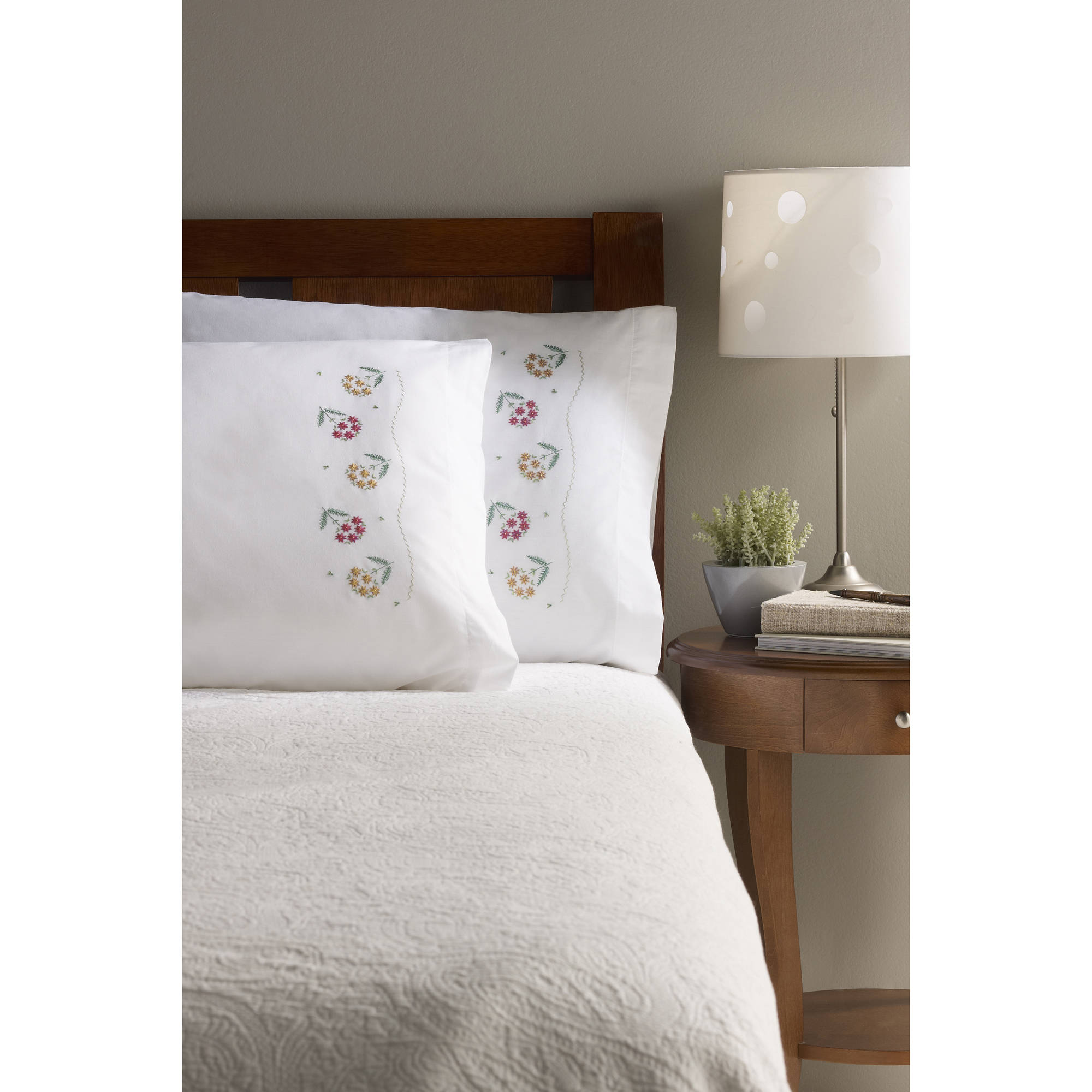 Bucilla Stamped Cross Stitch & Embroidery - Pillowcase Pairs