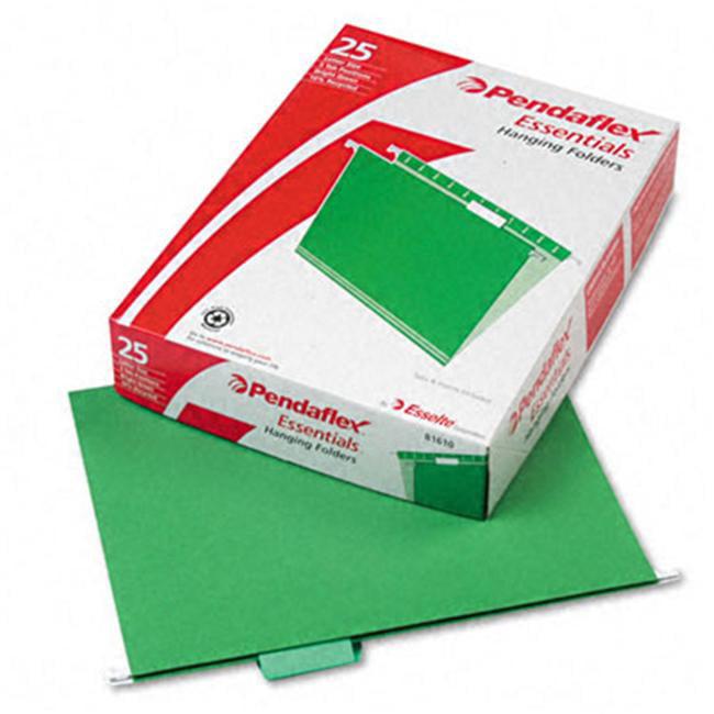 Pendaflex 81610 Hanging File Folders- 1/5 Tab- Letter- Bright Green- 25/Box
