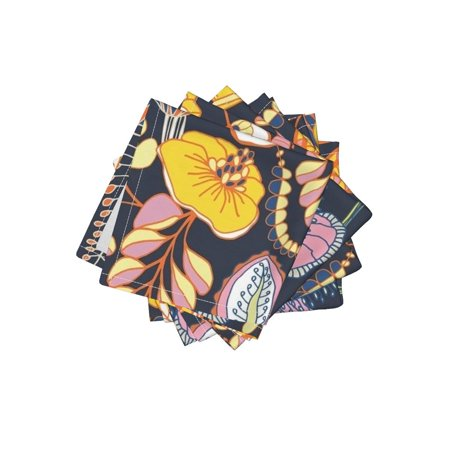 Cocktail Napkins Tropical Leaves Pink Mustard Flowers Jungle Florals Set of 4](Tropical Napkins)