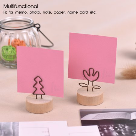 Real Wooden Base Place Card Holders Paper Note Clip Table Craft Decoration Ideal for Party Wedding Home Bar Multi-style Large Thread Shape Set of 10 - image 6 of 7