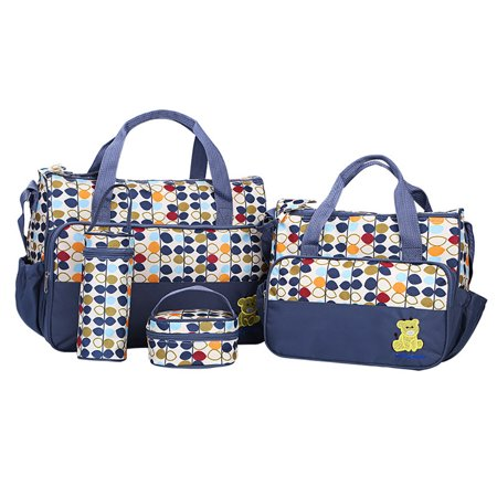 Diaper Tote Bag 5 pcs Nappy Bag Set Stylish Unisex for Baby Mom Dad Multifunction Large Capacity Travel Handbag Shoulder Bag Include Changing Pad Navy Baby Diaper Bag Set