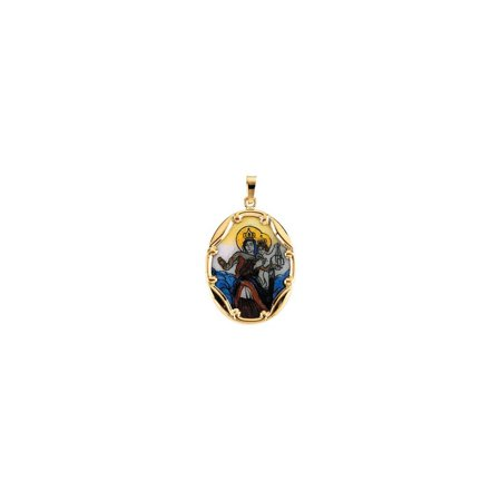 Bella Grace Jewelry Collection 14K Yellow 25x19.5mm Porcelain Scapular Pendant