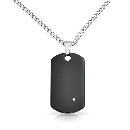 Classic Black Tungsten Dog Tag Pendant For Men CZ Accent 24 inch Bead  Stainless Steel Chain