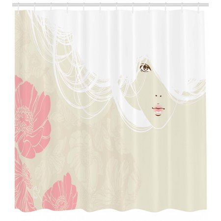 Girls Shower Curtain, Pastel Colored Portrait of A Woman Soft Digital Flowers Bridal Theme Romantic Image, Fabric Bathroom Set with Hooks, Biege Pink, by Ambesonne