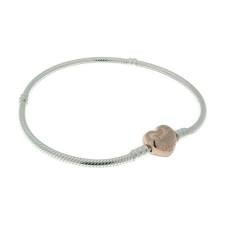 Sterling Silver Bracelet w/ Rose Heart Clasp 580719-23 cm 9.1 in ()