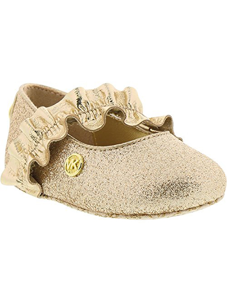 Michael Kors Girl's Baby Ruff Glitter and Metallic Ballet Flats Gold 1C