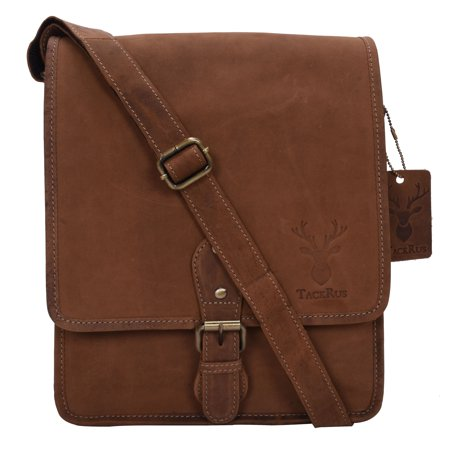 Leather Expandable Brief Bag (Genuine Leather Expandable Portfolio Messenger Shoulder Bag Brief Case)
