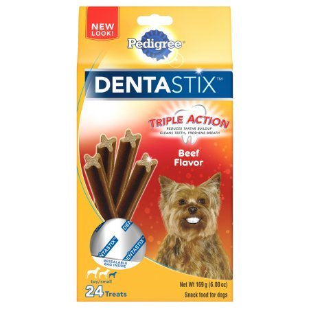 Pedigree Dentastix Beef Flavor Toy Small Breed Chews Dog Treat  24 Ct