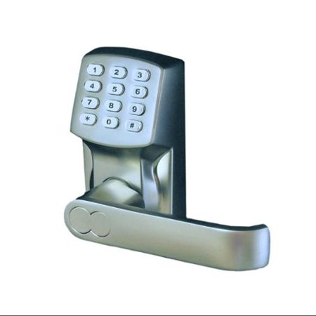 electronic keyless door lock set satin nickel for right hinged doors only. Black Bedroom Furniture Sets. Home Design Ideas