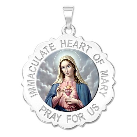 Immaculate Heart of Mary Scalloped Color Religious Medal  - 2/3 Inch Size of Dime, Solid 14K White Gold