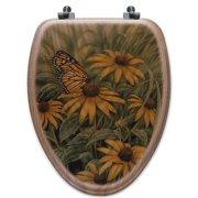 WGI-GALLERY Monarch Butterfly Oak Elongated Toilet Seat