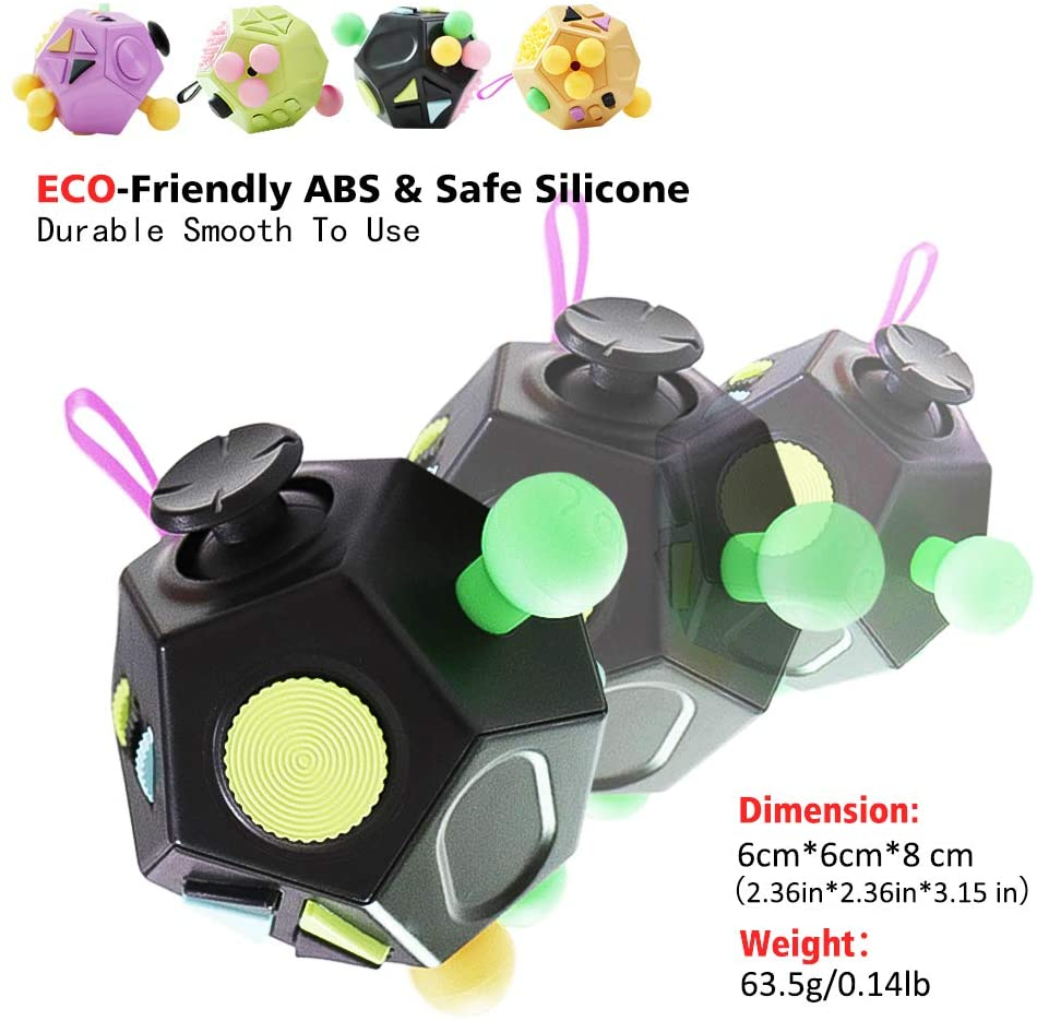 Color set 1 Rcanedny 2 Pack Fidget Cube 12 Sided Cube Fidget Dodecagon Relieves Stress and Anxiety for Boys Girls Adults with ADHD ADD OCD Autism