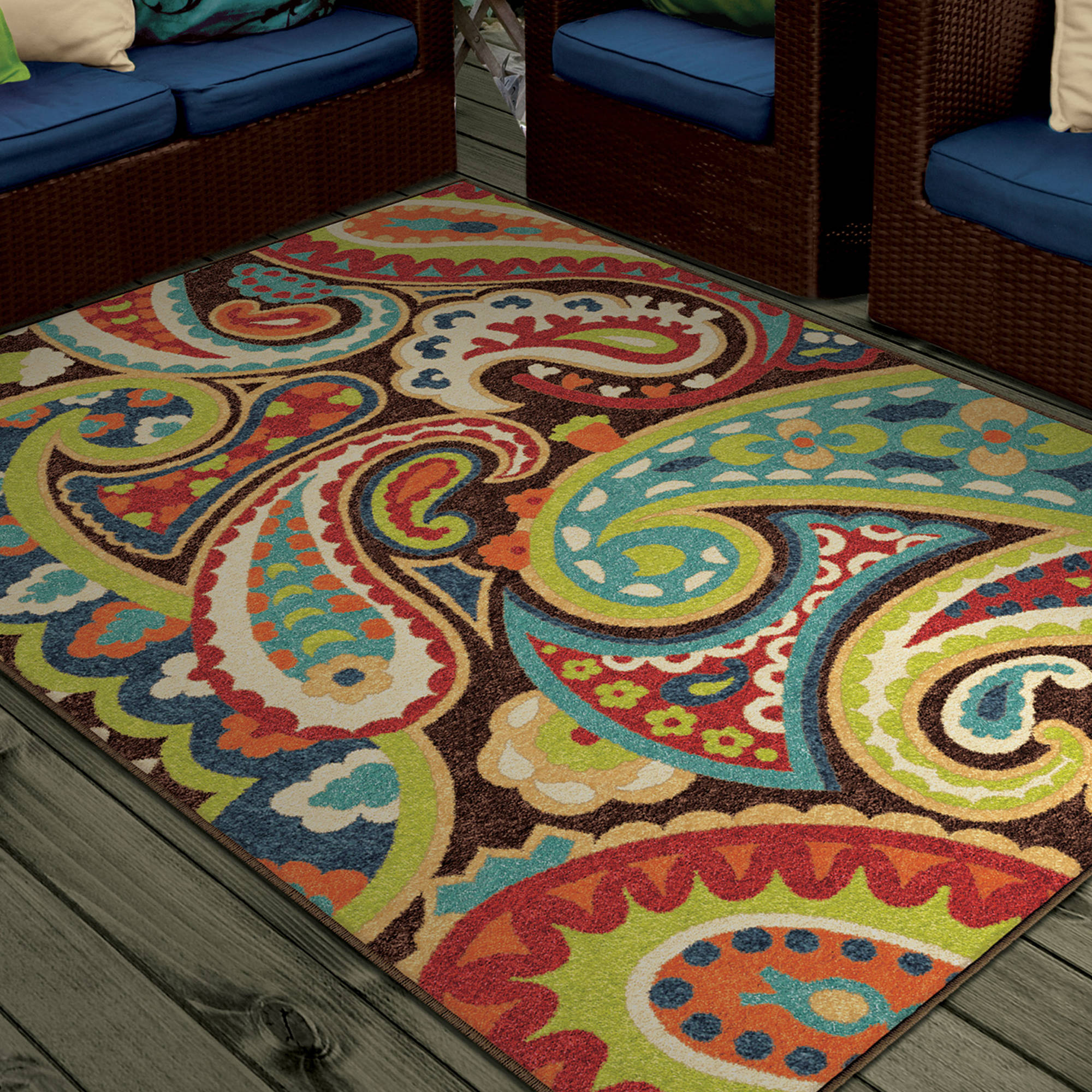 Bright Colors Paisley Monteray Area Rug