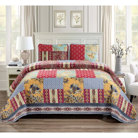 (Fancy Linen 2pc Twin/Twin Extra Long Over Size Quilted Coverlet Bedspread Set Patchwork Floral Flower Squares Red Navy Blue Ivory Burgundy New # Verona)