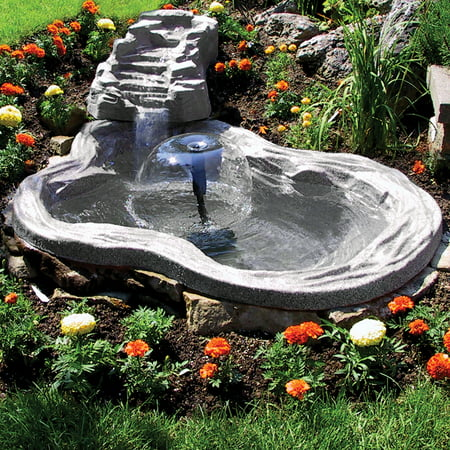 Algreen Decorative Pond Watercoarse, Tranquility Waterfall with Threaded Fitting, Charcoalstone