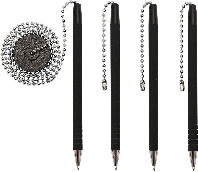 Ballpoint Pen Desk Table Holder Secure Plastic Chain Black Ink Base Stand Office