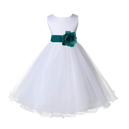- Ekidsbridal Satin White Oasis Tulle Rattail Edge Christmas Junior Bridesmaid Recital Easter Holiday Wedding Pageant Communion Princess Birthday Girl Clothing Baptism 829S size 2 Flower Girl Dress