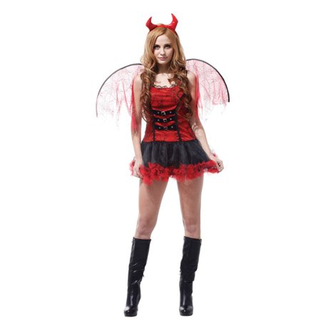 Devil Diva Costume (Women's Devilish Diva Red Devil Costume with Dress & Accessories,)