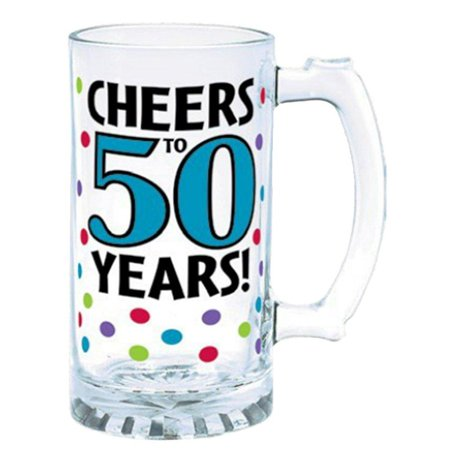 Amscan The Party Continuous 50th Birthday Party Cheers to 50 Years Tankard , Blue with Multi Colored Dots , 15 Ounces, Glass](Ideas For 50th Birthday)