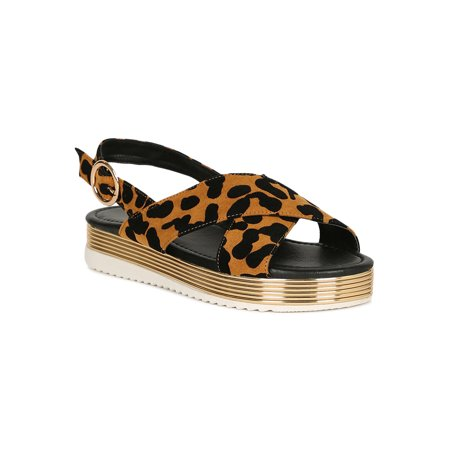 cafaa3b9ce Qupid - Women Metallic Trim Slingback Strap Flatform Sandal 18699 -  Walmart.com