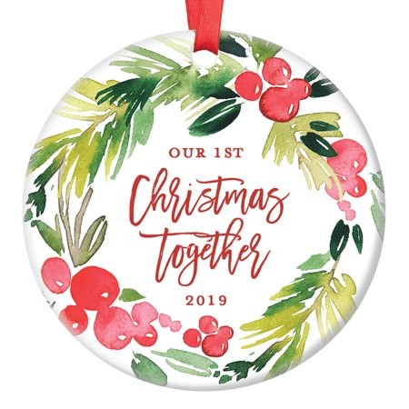 Our First Christmas Together Ornament 2019, Boyfriend Girlfriend Engaged Gifts for Couple in Relationship, Wedding Present Ceramic Present 3