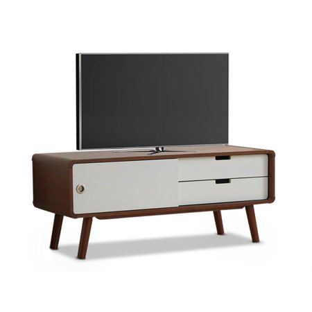 Baxton Studio Armani Mid-Century Modern Dark Walnut and White 2-Tone Finish 2-Drawer with Sliding Door Wood TV (Walnut Finish Lcd)