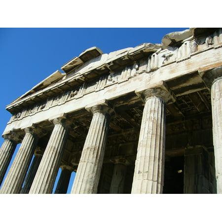 Plastic Greek Columns (Peel-n-Stick Poster of Greece Rom Blue Column Sky Poster 24x16 Adhesive Sticker Poster)