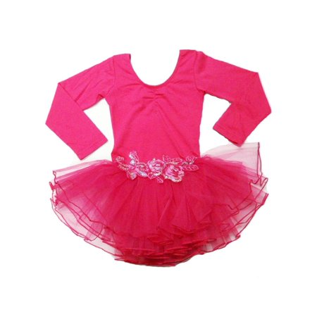 Hot Pink Glitter Rose Long Sleeve Tutu Ballet Dress Girls S
