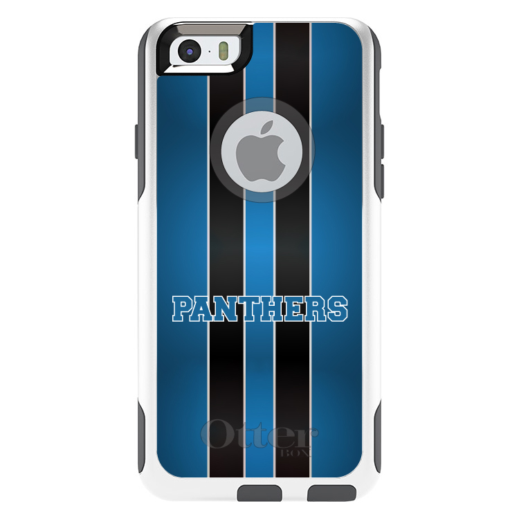 """DistinctInk™ Custom White / Grey OtterBox Commuter Series Case for Apple iPhone 6 / 6S (4.7"""" Screen) - Blue Black Panthers"""