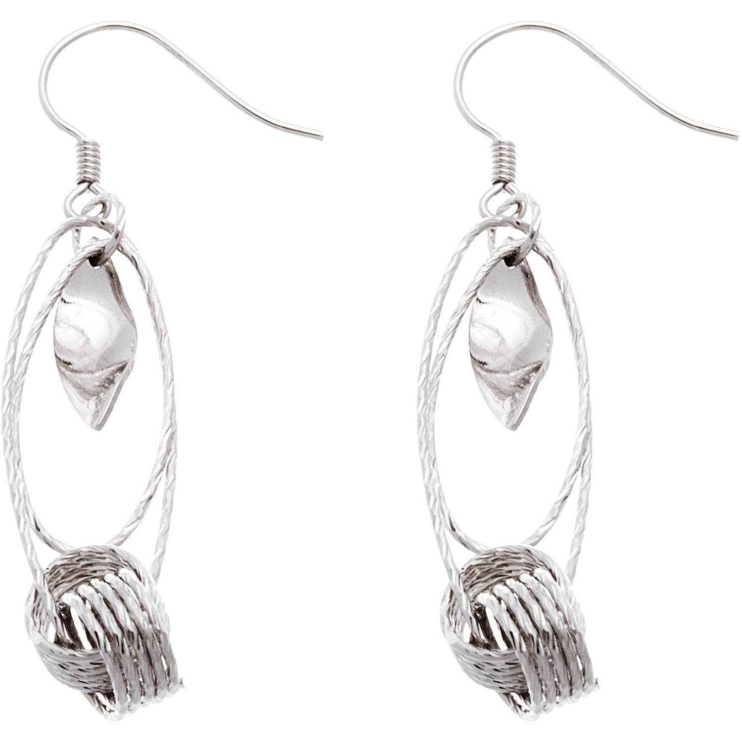 Angelique Silver 18kt White Gold over Sterling Silver Multi-Oval Dangling Earrings