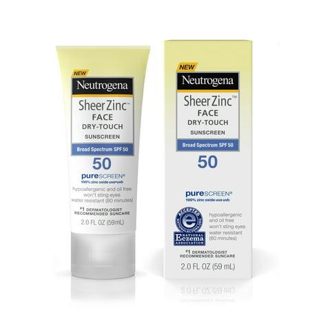 Neutrogena Sheer Zinc Face Dry Touch Sunscreen Broad Spectrum Spf 50  2 Fl  Oz