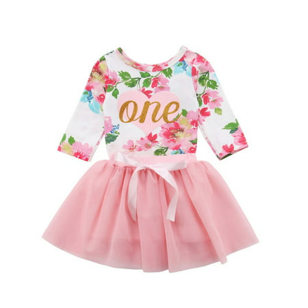 Baby Girls 1st Birthday Outfits Long Sleeve Floral Romper With Tutu Skirt Set Long Romper Set