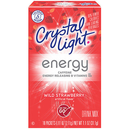 Crystal Light with Caffeine On the Go Wild Strawberry Drink Mix 10 ct Packets