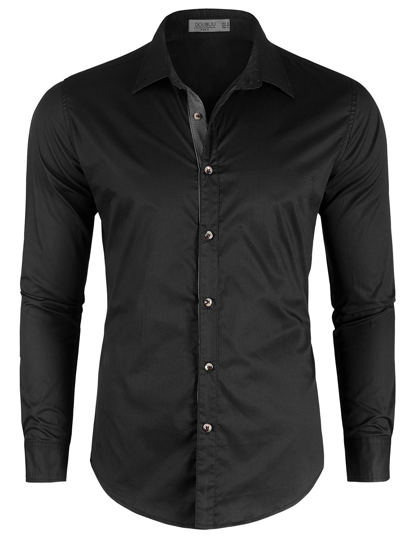 Doublju Men's Slim Fit Long Sleeve Inner Contrast Dress Shirts
