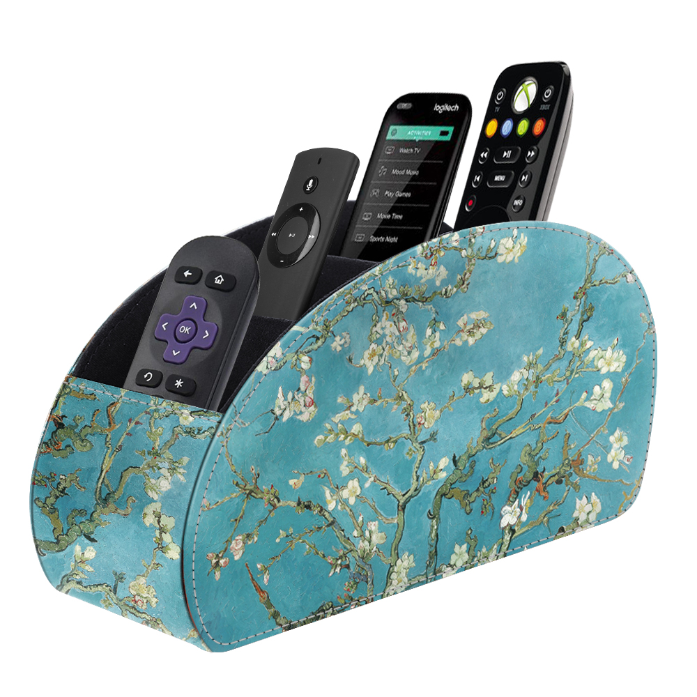 Fintie Remote Control Holder PU Leather Desktop Stationery Organizer with 5 Compartments, Blossom