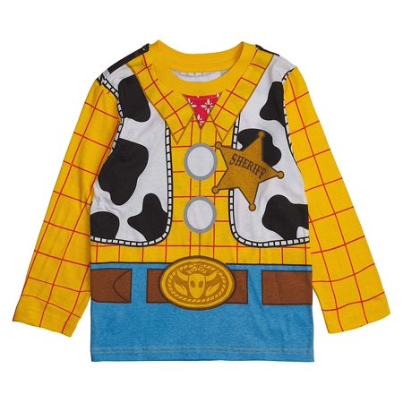 Toy Story Disney Long- Sleeve Costume T- Shirt -Buzz Lightyear, Woody - Boys (Sheriff Woody, 2T)](Woody Costume For Women)