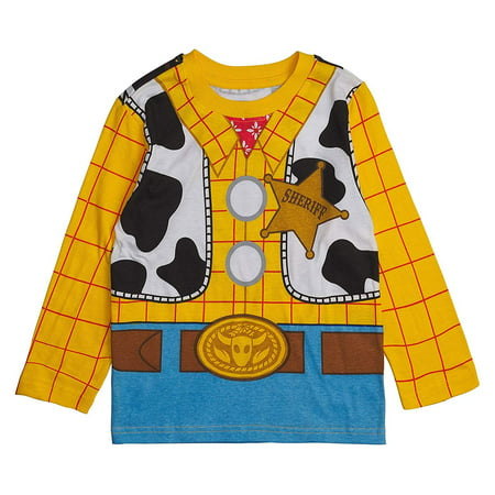 Toy Story Disney Long- Sleeve Costume T- Shirt -Buzz Lightyear, Woody - Boys (Sheriff Woody, 2T) (Woody Outfit)