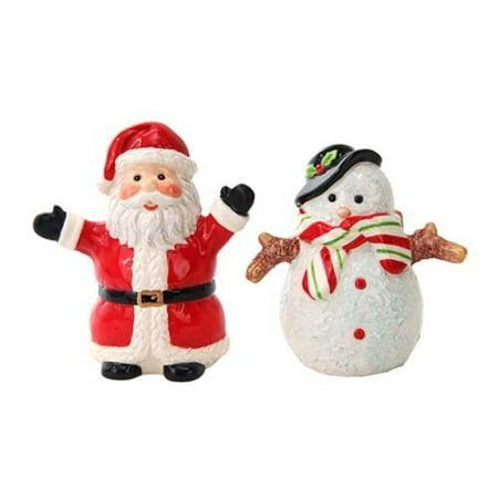 Attractives Christmas Santa & Snowman North Pole Winter Ceramic Magnetic Salt Pepper Shakers - Snowman Salt And Pepper Shakers