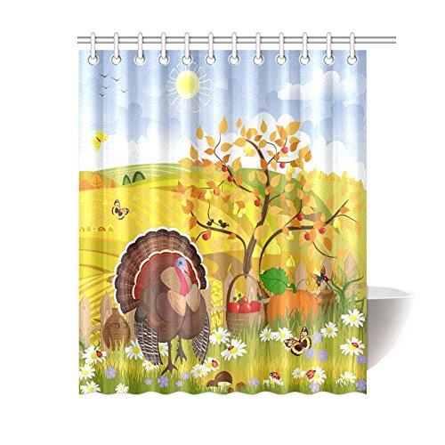 GCKG Thanksgiving Turkey Harvest Field Shower Curtain Autumn