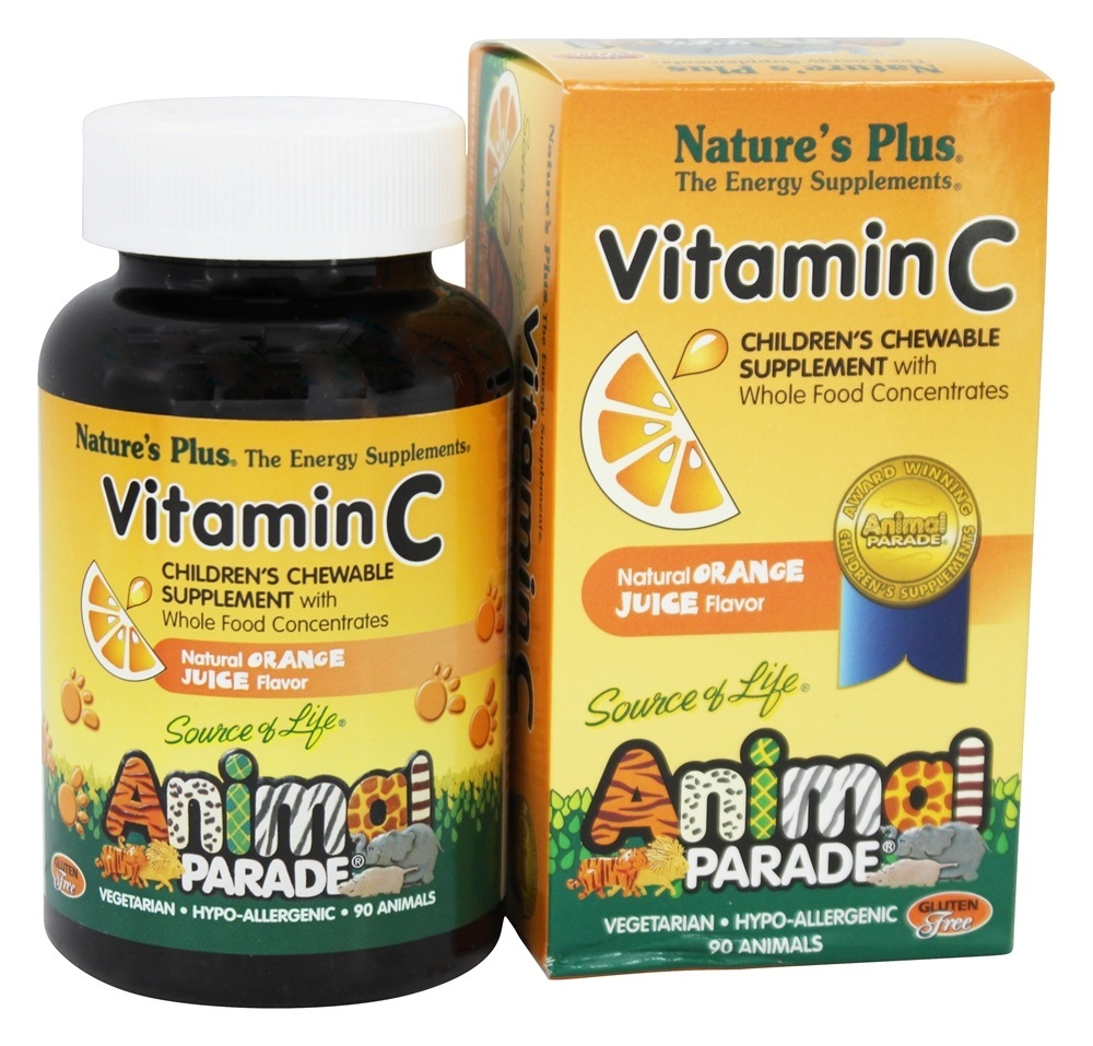 Nature's Plus - Animal Parade Vitamin C Orange Juice - 90 Chewable Tablets
