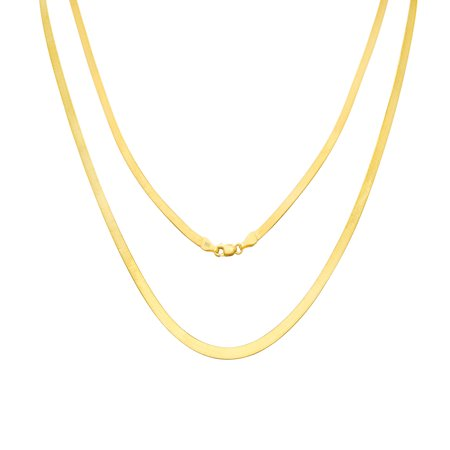 10K Yellow Gold Solid 3mm Polished Silky Flat Herringbone Chain Necklace, 16