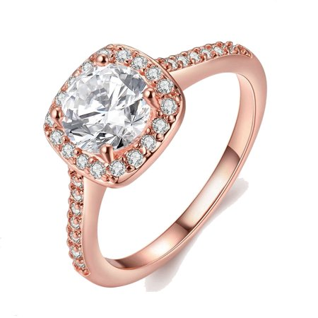 Rose Gold Plated Wedding Band Square Cubic Zirconia Ring (The Wedding Band)
