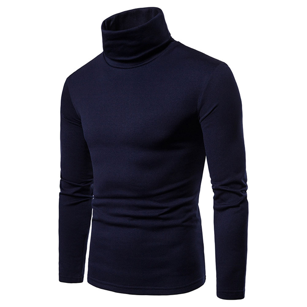 SELX Men Long Sleeve Slim Fit Turtleneck Solid Color Thermal Thick Tee T-Shirts